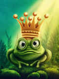Frog prince. Illustration of frog prince with gold crown Stock Photo