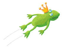 Frog prince jumping. Acrylic illustration of frog prince jumping Stock Image