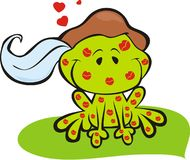 Frog prince with kisses royalty free stock photo