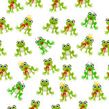Frog prince or princess. Very high quality original trendy vector seamless pattern with frog prince or princess Stock Photography