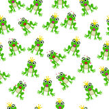 Frog prince or princess. Very high quality original trendy vector seamless pattern with frog prince or princess Stock Photos