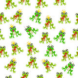 Frog prince or princess. Very high quality original trendy vector seamless pattern with frog prince or princess Royalty Free Stock Photos