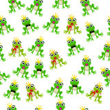 Frog prince or princess. Very high quality original trendy vector seamless pattern with frog prince or princess Stock Images