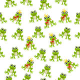 Frog prince or princess. Very high quality original trendy vector seamless pattern with frog prince or princess Royalty Free Stock Images