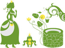 Frog Prince and Princess by the well. Vector illustration. Layers are managed and arranged for easy editing Stock Image