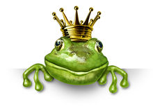 Frog prince with small gold crown Stock Images