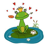 Frog. Princess with crown and arrow on water lily vector illustration Stock Photo