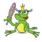 Frog Princess with Mirror. Illustration Frog Fairy Princess with a Mirror Stock Photography