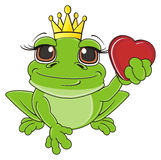 Frog princess with red little heart Stock Image