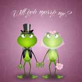 Frog proposes marriage Stock Images