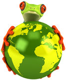 Frog protecting the earth Stock Image