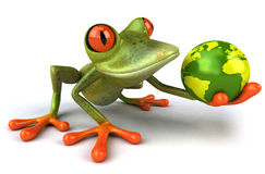 Frog protecting the earth Royalty Free Stock Image