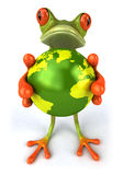 Frog protecting the earth Stock Photography