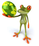 Frog protecting the earth Royalty Free Stock Photos