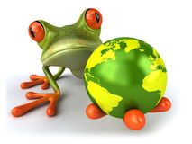 Frog protecting the earth Stock Photos