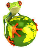 Frog protects the planet Stock Photography