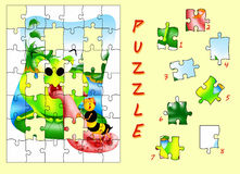Frog puzzle. Color illustration of a puzzle for children Royalty Free Stock Image