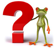 Frog with a question mark Royalty Free Stock Images