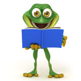 Frog read a book Royalty Free Stock Images