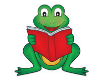 Frog reading Stock Photography