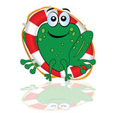Frog with red lifesaver vector illustration Stock Photos