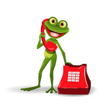 Frog with Red Phone Stock Images
