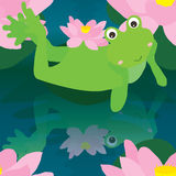 Frog reflect naive seamless pattern Stock Photography