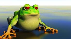 Frog in reflective pond vector illustration