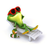 Frog relax with beer Stock Photo