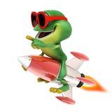 Frog riding rocket Stock Photos