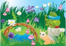 Frog riding snail. Fairy tale illustration Stock Photo