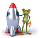 Frog and rocket Stock Image