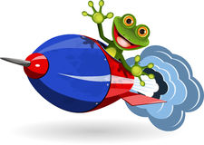 Frog in a Rocket Royalty Free Stock Images