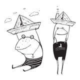 Frog Sailing Toy Paper Boats Outline Drawing Royalty Free Stock Images