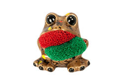 Frog Scrubby Holder. Brown Frog That Serves As A Dish Scrubber Pad Isolated On A White Background royalty free stock image
