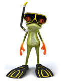Frog scuba diver. Cute little frog, 3D generated Royalty Free Stock Photos