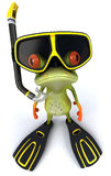 Frog scuba diver. Cute little frog, 3D generated royalty free illustration