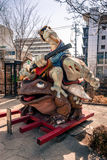 Frog sculpture in Matsumoto. Matsumoto, Japan - March 06, 2015: Sculpture of frogs fighting stands at the entrance to Nawate-dori in Matsumoto Stock Image
