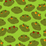 Frog seamless pattern. Amphibian ornament. Toad texture. Head of. Reptilian background Stock Image