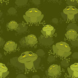 Frog seamless pattern. Green Toad in swamp. Many Amphibious anim. Al texture. Green swamp Reptile Stock Image