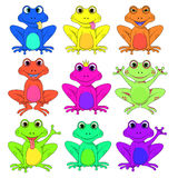Frog a set of different flowers isolated vector EPS 10 Royalty Free Stock Image