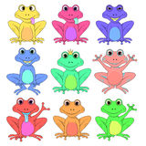Frog a set of different flowers isolated vector EPS 10 Stock Image
