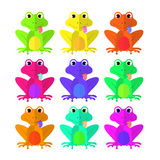Frog set of Flat style on white background vector isolated EPS 10.  Royalty Free Stock Images