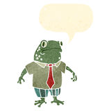 frog in shirt and tie retro cartoon Stock Photography