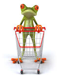 Frog shopping Stock Images