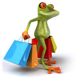 Frog shopping Stock Photography