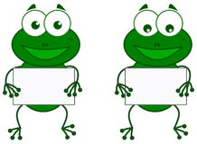 A frog with sign Stock Images