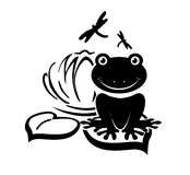 Frog. Silhouette of a frog on a lily pad Stock Photos