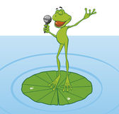 Frog singing in the pond Stock Photo