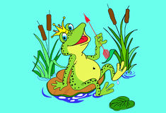 The frog is sitting on the sheet Royalty Free Stock Photography